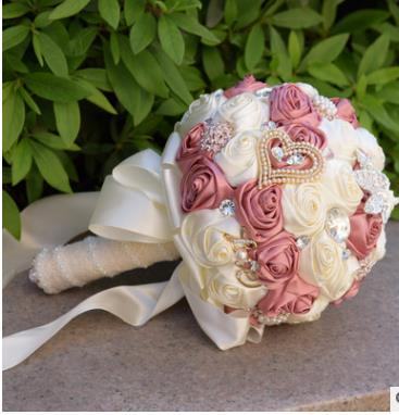 Grosshandel Luxus Kristall Perlen Brautjungfer Blumenstrauss Weiss Rot