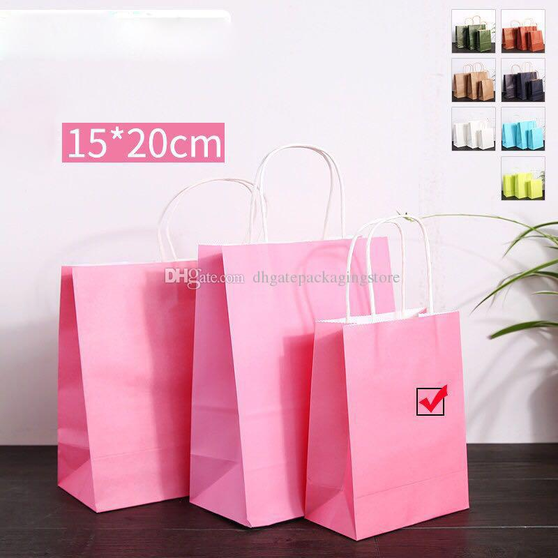 2018 Pink Kraft Paper Presents Bag With Handles Recyclable Shopping