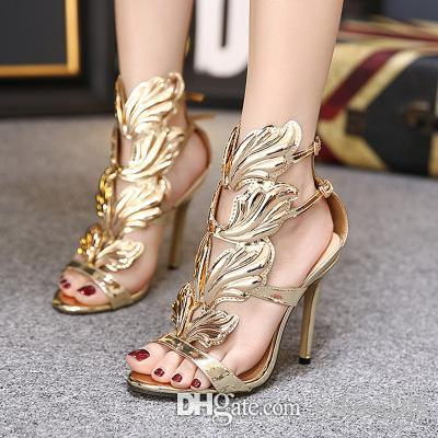 a667b5e204b59b 2018 Gold Silver Gladiators Woman Wing Leaf Sandals Summer Shoes Genuine  Leather Wedding Party Shoes Stiletto Buckle High Heels Pumps Brand Designer  Shoes ...