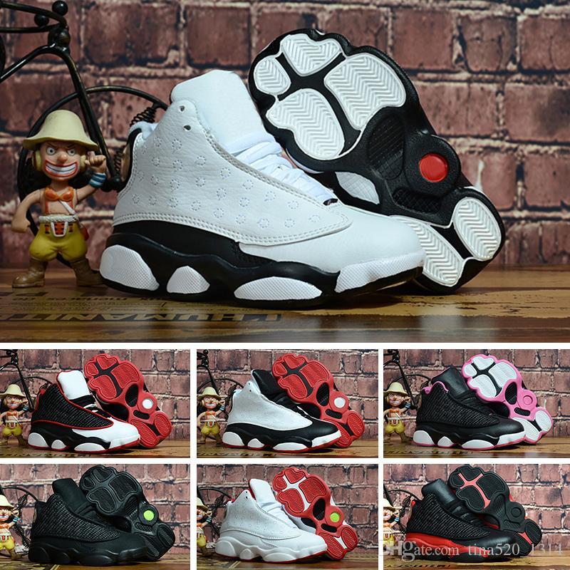 meilleure sélection 2a9cf 7753e Nike air jordan 13 retro En vente 13s chaussures de basket enfants chicago  rouge blanc noir 13 élevé histoire of Flight garçon et fille enfants ...