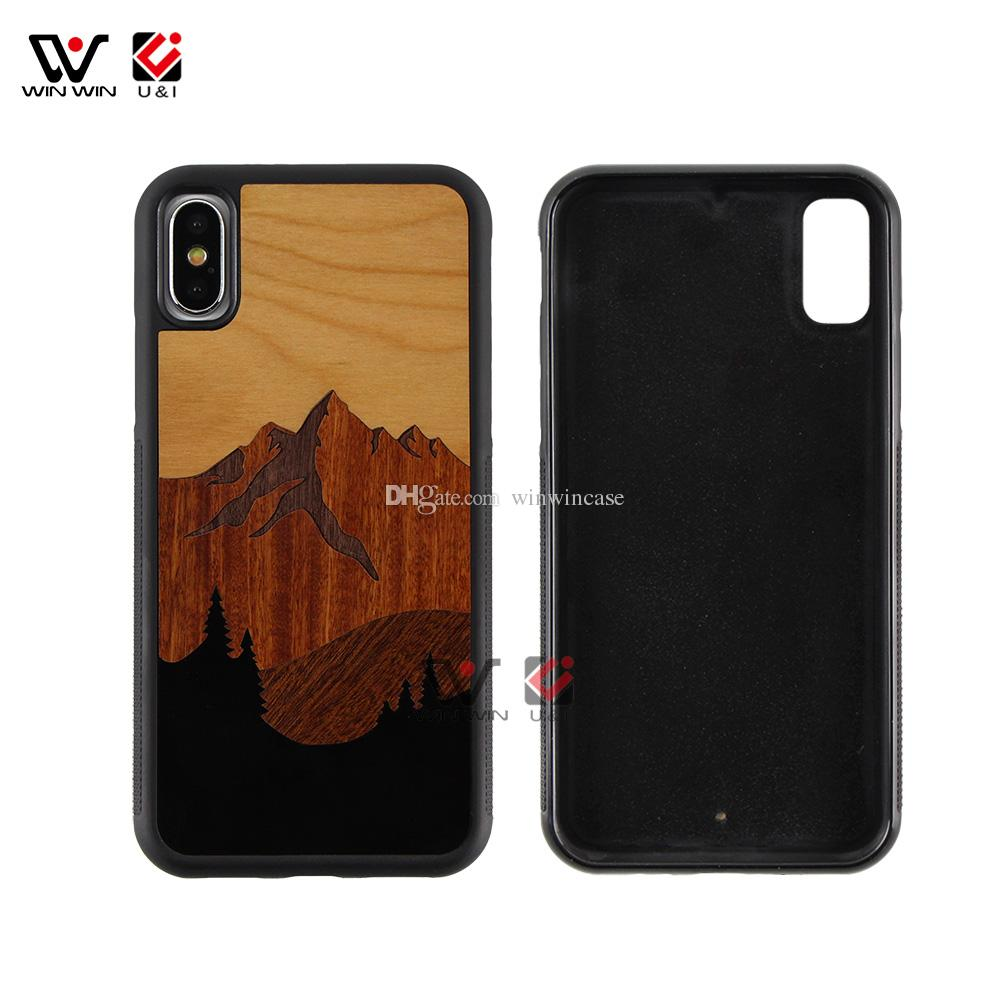 Newest arrival wood cell phone cases for iPhone x luxury wooden design mobile cellphone covers for Apple i Phone 10 ten shockproof accessory