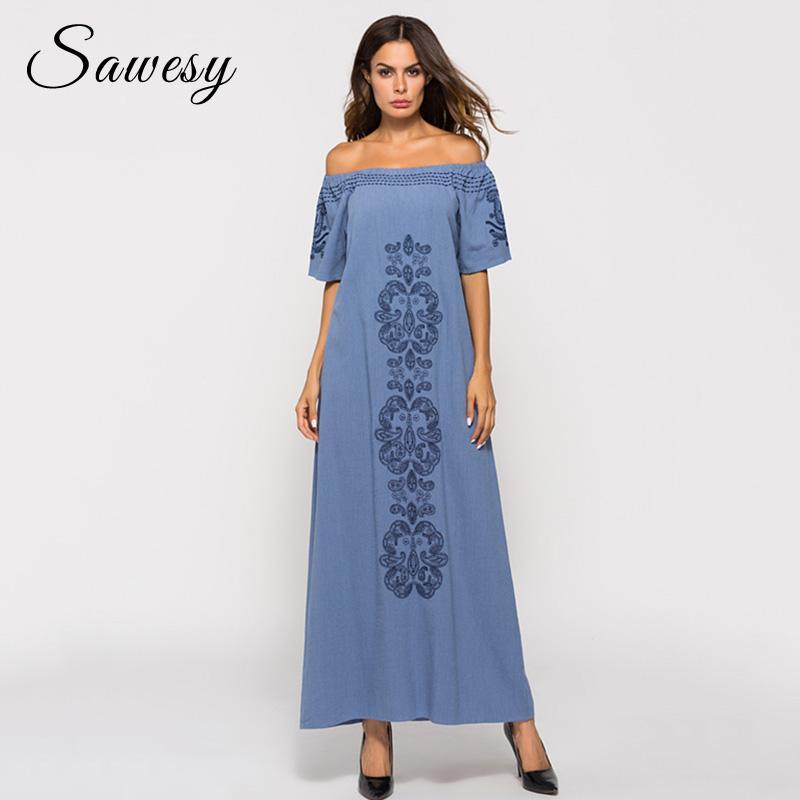Compre Vestidos Largos De La Vendimia De Las Mujeres Moda 2018 Fuera ...