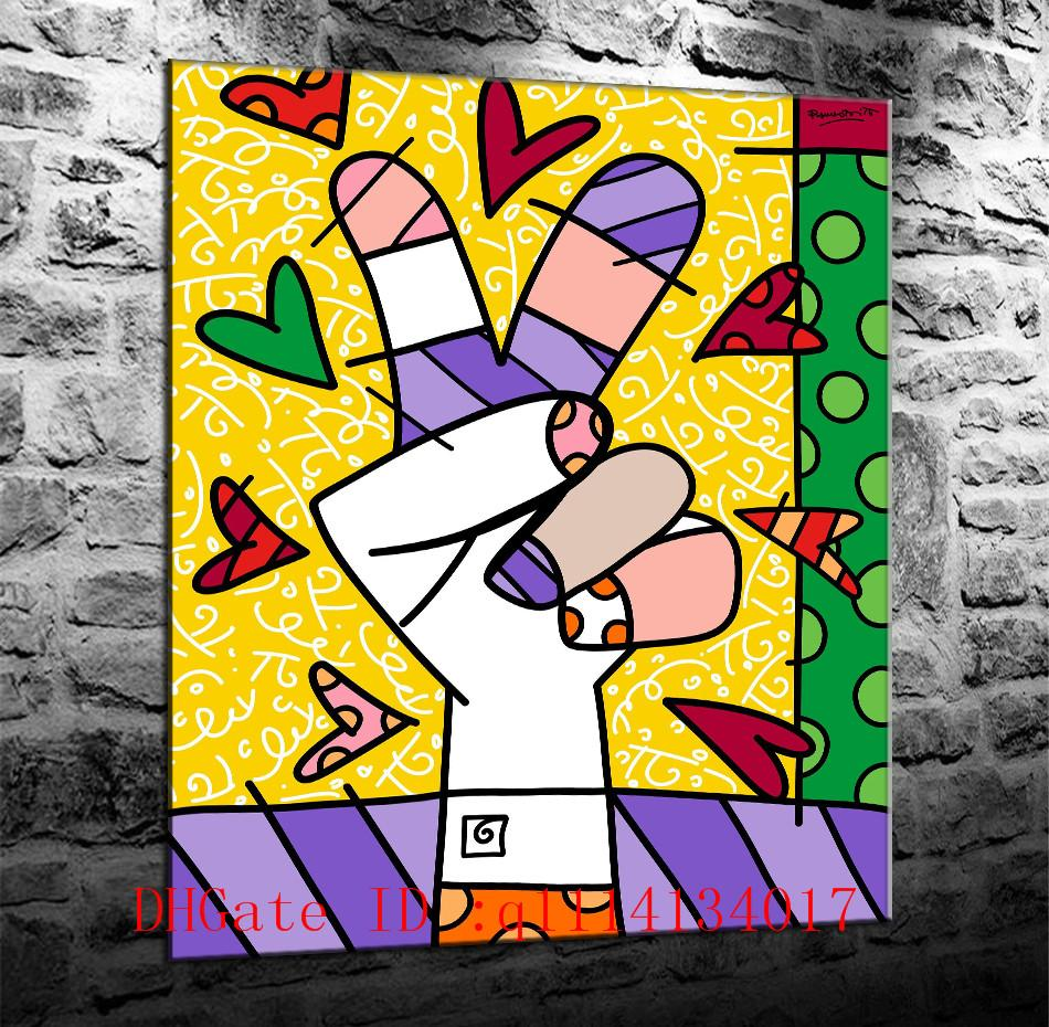 2018 Romero Britto 18,Canvas Prints Wall Art Oil Painting Home Decor ...