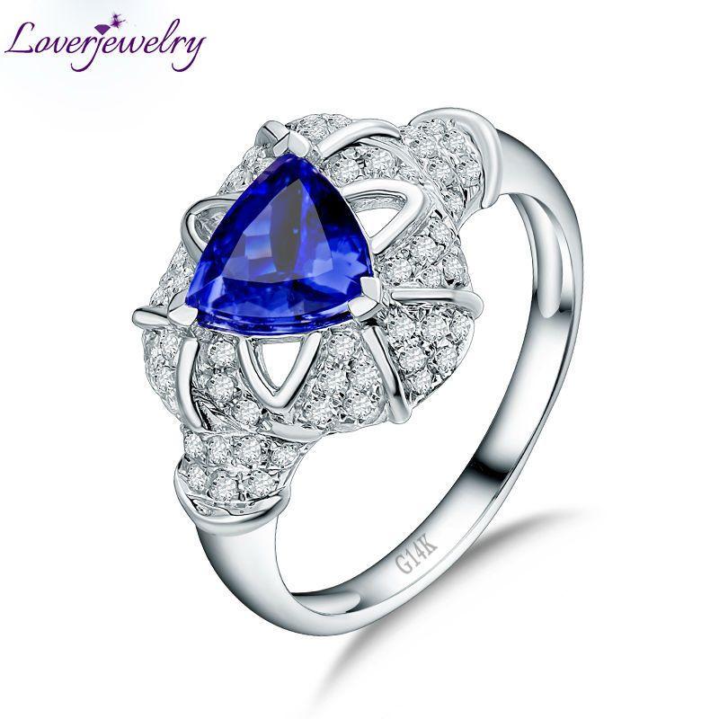 9cd8fa028 2019 Luxury Natural Tanzanite Wedding Ring Design Real 14K White Gold  Diamond Anniversary Jewelry Genuine Gemstone For Women S923 From Ruiqi08,  ...