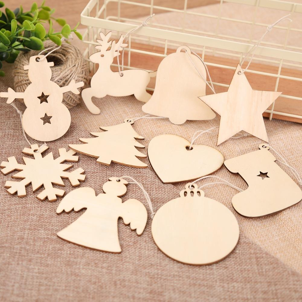 10pcslot Christmas Gifts Blank Wooden Ornaments Craft Heart Tree Snowman Snowflake Reindeer Decorations Bell Hang Gift Wood Slices Ffa1054