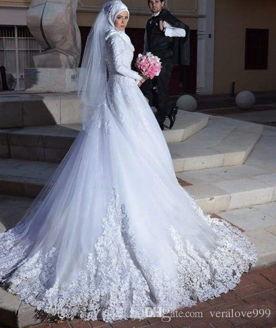 98721e8d003 Discount 2018 Long Sleeves Muslim Wedding Dresses Lace Applique A Line  Bridal Gowns Sheer Tulle Corset Vestido De Noiva Pictures Of Wedding Gowns  Princess ...