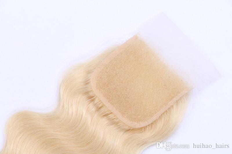 613 russo capelli vergini biondi 3 pacchi con 4 * 4 chiusura del merletto cima dell'onda del corpo dei capelli umani con la parte libera chiusura da huihao_hairs