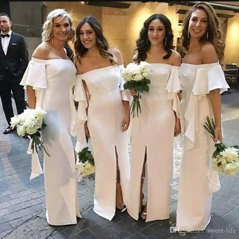 5d285f0dc6 2018 Country Bridesmaid Dresses Short Sleeves Off The Shoulder Maid Of  Honor Dress Front Split Ruffles wedding guest dress evening dresses