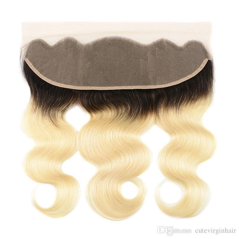 10-18 дюймы шнурок Фронтальные Только выдвижение волос 613 1B / 613 Ombre Blonde бразильский человеческие волосы 13 * 4 уха до уха фронтального Закрытия свободной части