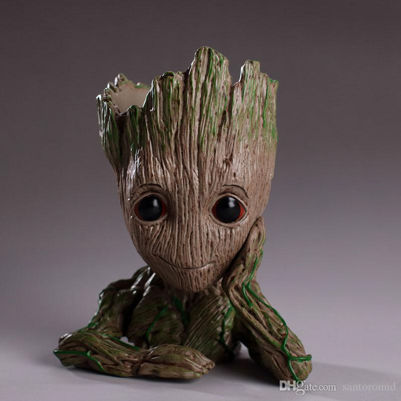Groot Action Figures Fashion Guardians of The Galaxy Flowerpot Baby Groot Action Figures Cute Model Toy Pen Pot Best Study Gifts For Kids