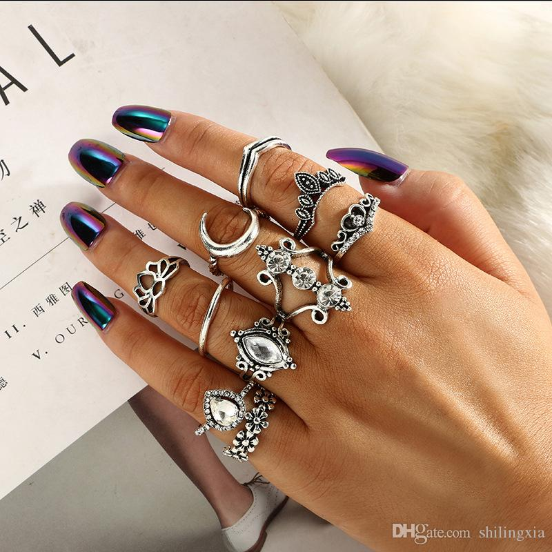 2019 Vintage Rhinestone Ring Sets For Women Boho Moon Flowers Anillos Mujer  Antique Gold Silver Wholesale Jewellery From Shilingxia, $3.22 | DHgate.Com
