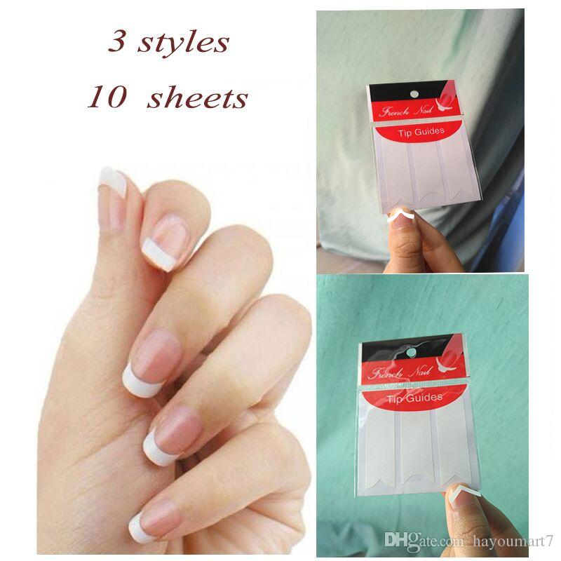 Three Different Shapes Portable Nails Sticker Tips Guide French ...