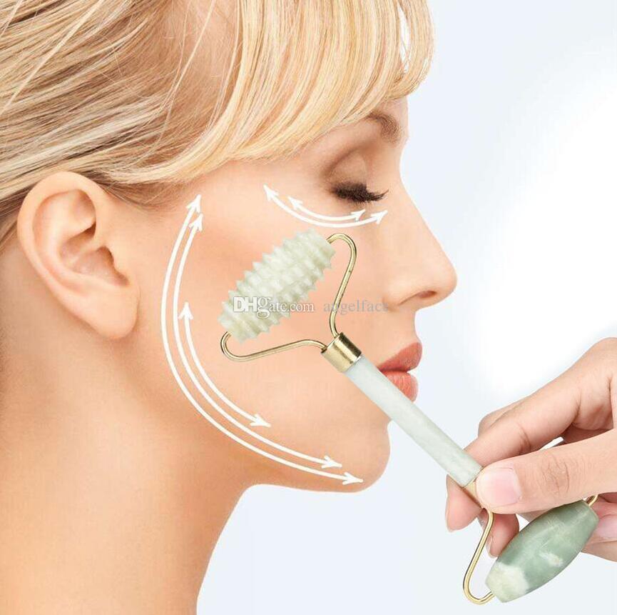 Natürliche Jade Massage Roller Gesichtsmassagegerät Gesichtsentspannung Abnehmen Werkzeug Facelift Anti-Falten Anti Cellulite Körper Schönheit Werkzeuge Geschenk