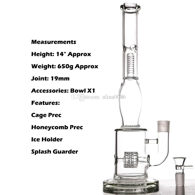 Honeycomb Bong Manufacture Hot Selling Glass Water Pipe With Tire Style And Honeycomb Glass Diffuser Percolator Glass Bongs