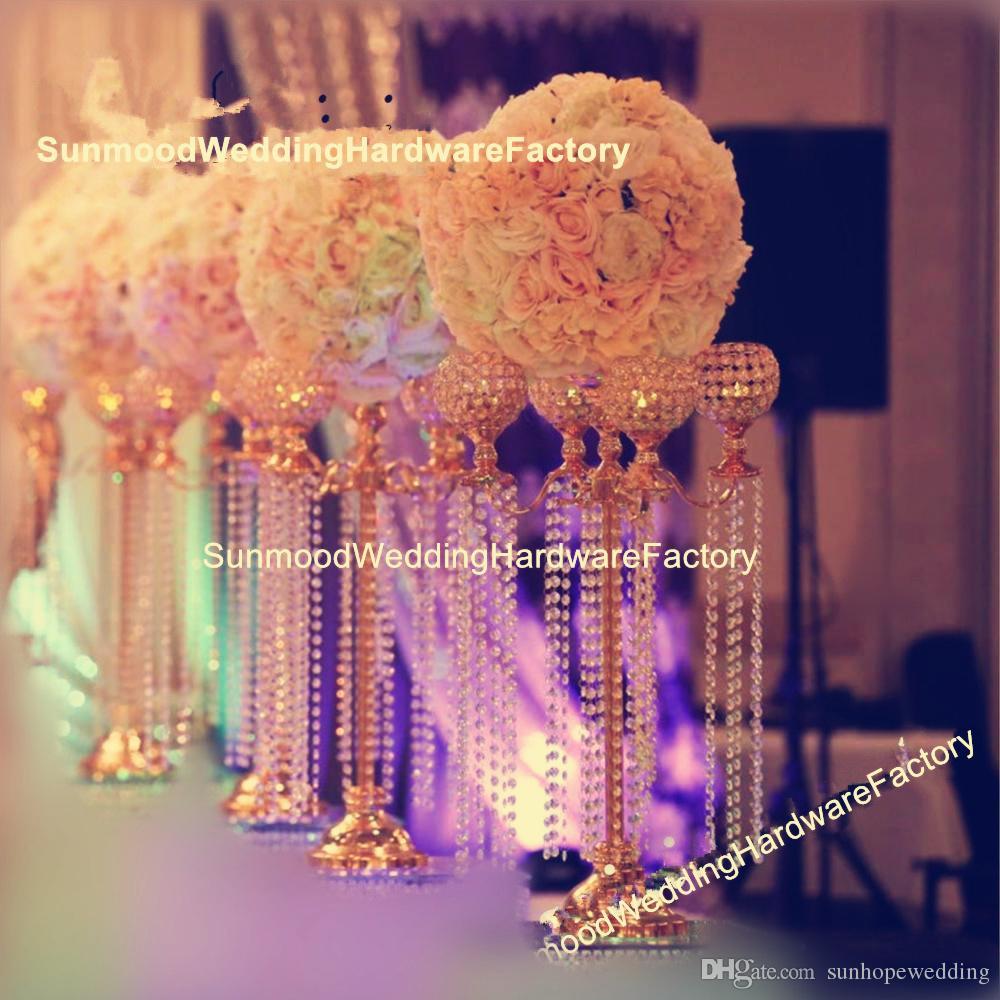 زفاف جميل الحدث الديكور الذهب mandap الممشى زهرة الكريستال شمعة الكريستال الممر حامل