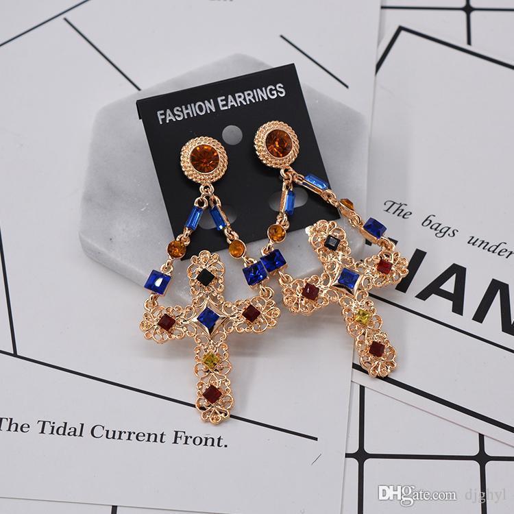 Baroque Retro Cross Pendant Tassel Long Big Earrings Metal Cross Earrings Female Gold Mental Exaggerated Sexy Set Auger Ea