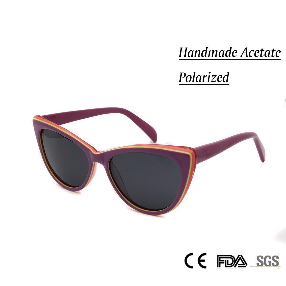 3cf36be65ba16 Compre 2017 Nova Marca Deisgner Moda Mulheres Olho De Gato Óculos De Sol  Artesanal Acetato Polarizada Óculos De Sol Para Senhoras Do Vintage Oculos  De ...
