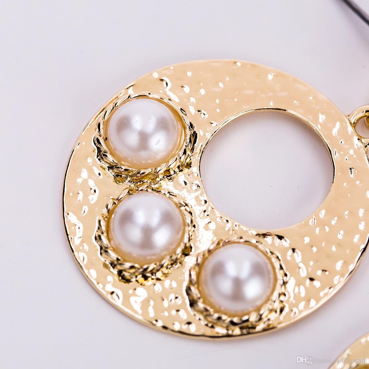 earings Vintage contract luxury Multilayer Geometric Imitation pearls alloy Drop Earrings gold color for Women Jewelry dangle Earrings 2018