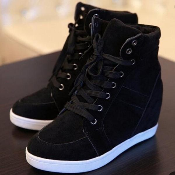 Women Fashion Wedge Sneakers High Heel Shoes Black Red Tennis Shoes