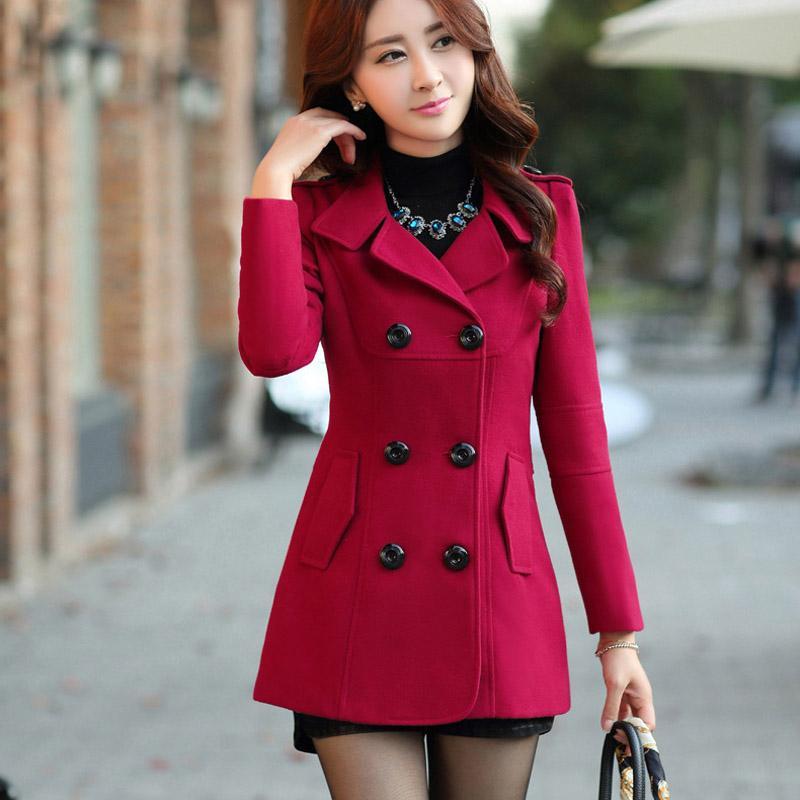 Satın Al 2018 Sonbahar Kış Kadın Yün Ceket Yeni Moda Ince Yün Ceketler  Casual Yaka Kısa Kadın Palto Katı Feminino Casaco ad3d2aa491c