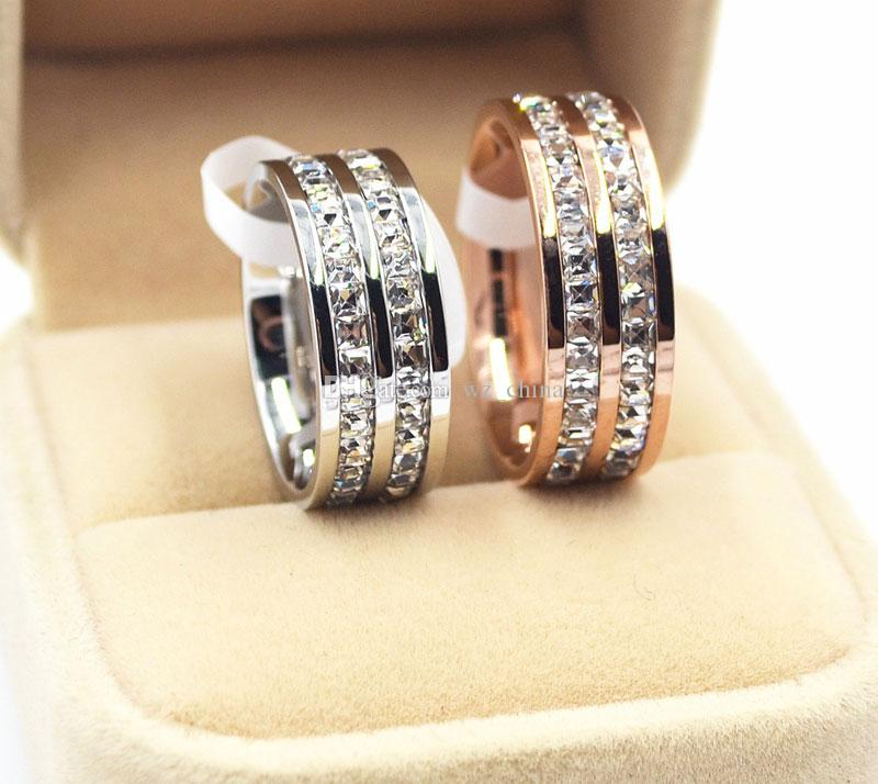 Women Wedding Rings 316L Titanium Steel With Two/Single Row Diamond Stone Rose Gold Silver Plated Bohemian Girls/Ladies Ring With JewleryBOX