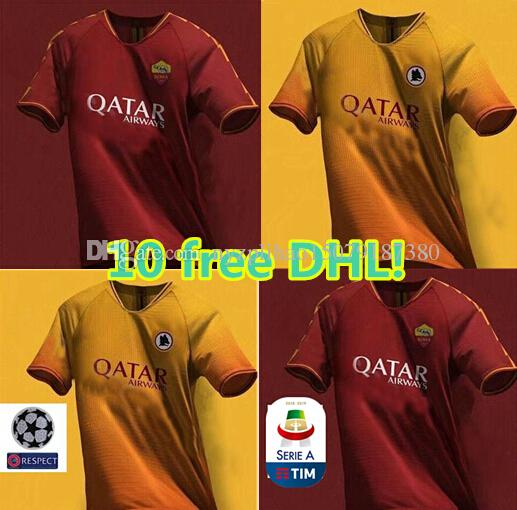 10 pieces free DHL!2019 2020 AS Roma FC Soccer 10 TOTTI Jersey 9 DZEKO 16  DE ROSSI 44 MANOLAS 92 EL SHAARAWY Football Shirt Kits Uniform