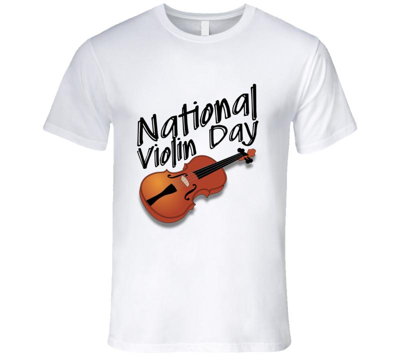 cf154eea National Violin Day Fun Music Celebration Men's T-Shirts White Funny Print  Tops Men top tee