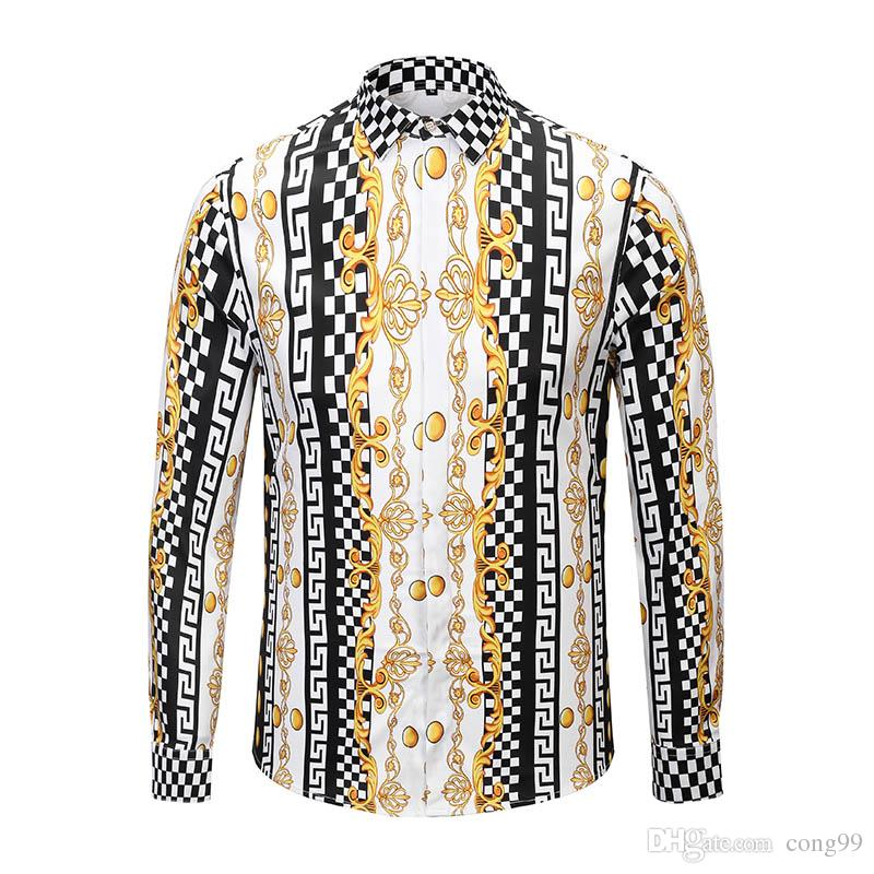83ccfe04 2019 New Floral Shirt Men Luxury Men Fancy Dress Shirts Fashion ...