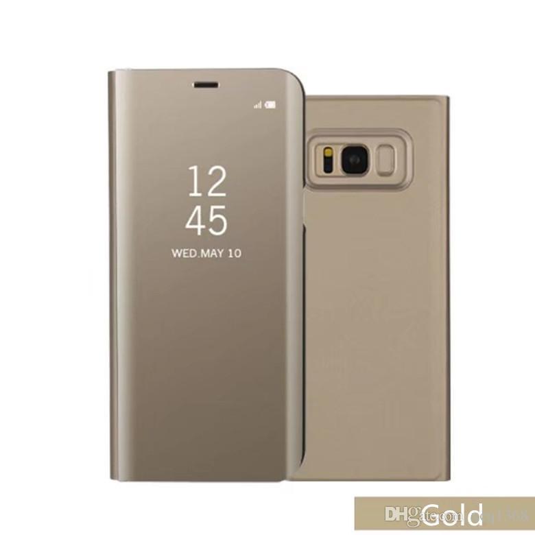 Pour iphone X XS 8 Plus Luxe Miroir De Placage Étui En Cuir Smart View Clear Couverture Flip Stand Pour Samsung S9 S8 plus Note9 8 iphone 7 6