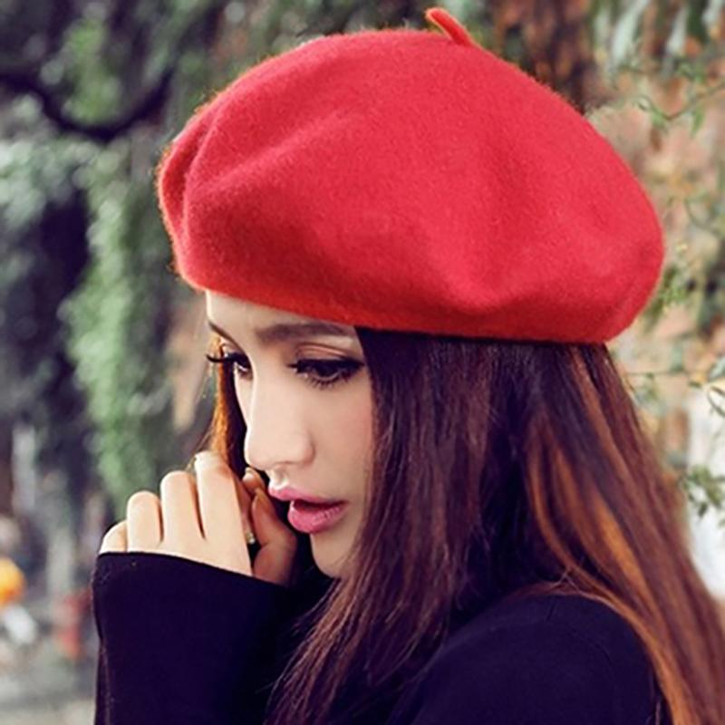 f072b45d198cb Women Classic Wool Hat Felt Warm French Beret Beanie Pure Color Sweet Mini Cap  women s berets with a small visor Hot Sale