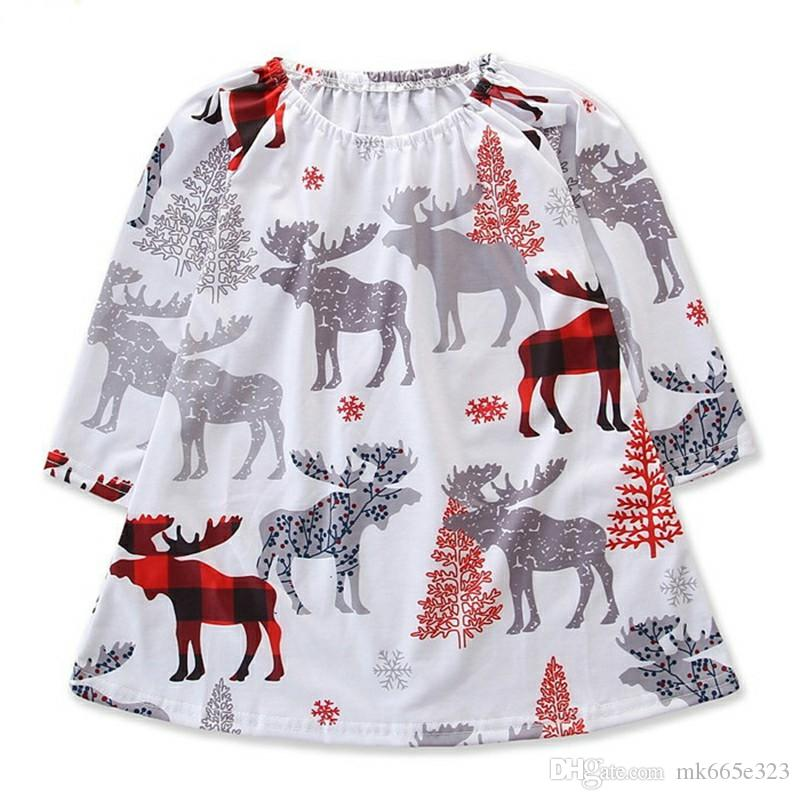 614f51973cfcaa Baby Girl Dress Christmas Deer Printed Cotton Long Sleeves Dresses For Girls  Autumn Clothes for Children Kids Clothing 2-6Y Baby Girl Dress Kids Clothing  ...