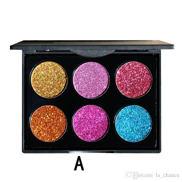 DHL free HANDAIYAN Brand Makeup 6 Colors Waterproof Glitter Metallic Shimmer Eyeshadow Palette Shiny Eye Shadow Diamond Pigment Powder