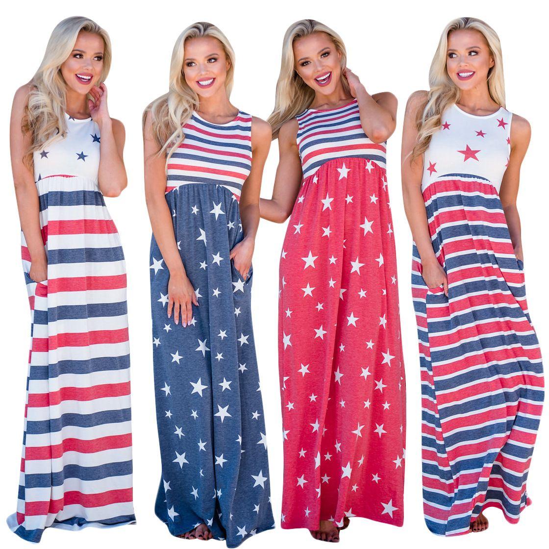 Summer Maxi Dresses Flag Striped Women Boho Style Printed Dresses Crew Neck Short Sleeves Lady Women Long Dresses
