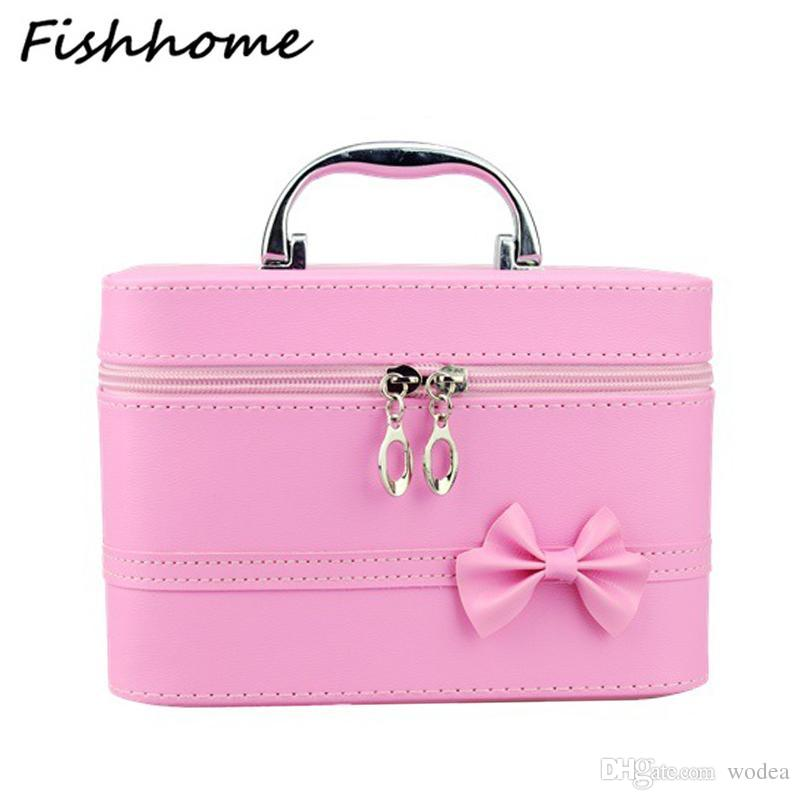 4a02a11e36 2019 Wholesale Bow Style Woman Leather Cosmetic Bags Handbag Necessary  Organizer Makeup Bag Travel Toiletry Bag Large Capacity Storage BH150Z From  Wodea