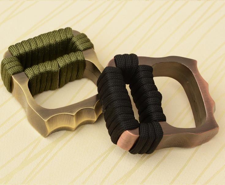 Engrosamiento DOBLE MAFIA VENTILADOR VENTILADOR LATÓN LATÓN DESECHADOR Equipo de autodefensa EDC anillo embrague nudillos cuchillos herramienta de defensa personal