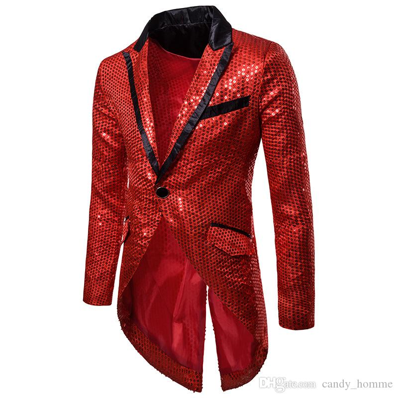 Acheter Mode Brillant Or Sequin Suit Blazer Hommes 2018 Cosplay Costume  Homme Discothèque Style Costume Blazer Masculino Slim Fit Tuxedo Blazer De   52.65 Du ... 122fdf0505c
