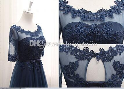 Dark Navy Tea Length mother of the bride dresses Half Sleeves Sheer with Applique Pleats TUlle Mother's Dresses Real Pictures Cheap
