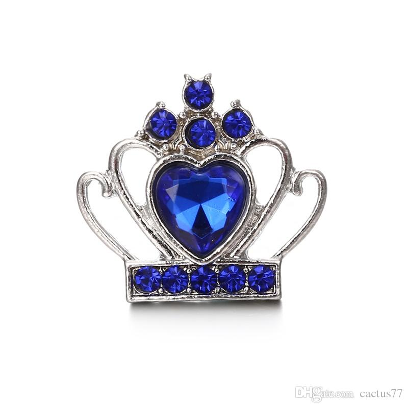 Crown Crystal 18mm Snap Button Jewelry Bohemia Noosa Chunks DIY Ginger Snap Button Charms Bracelet Necklace Lover