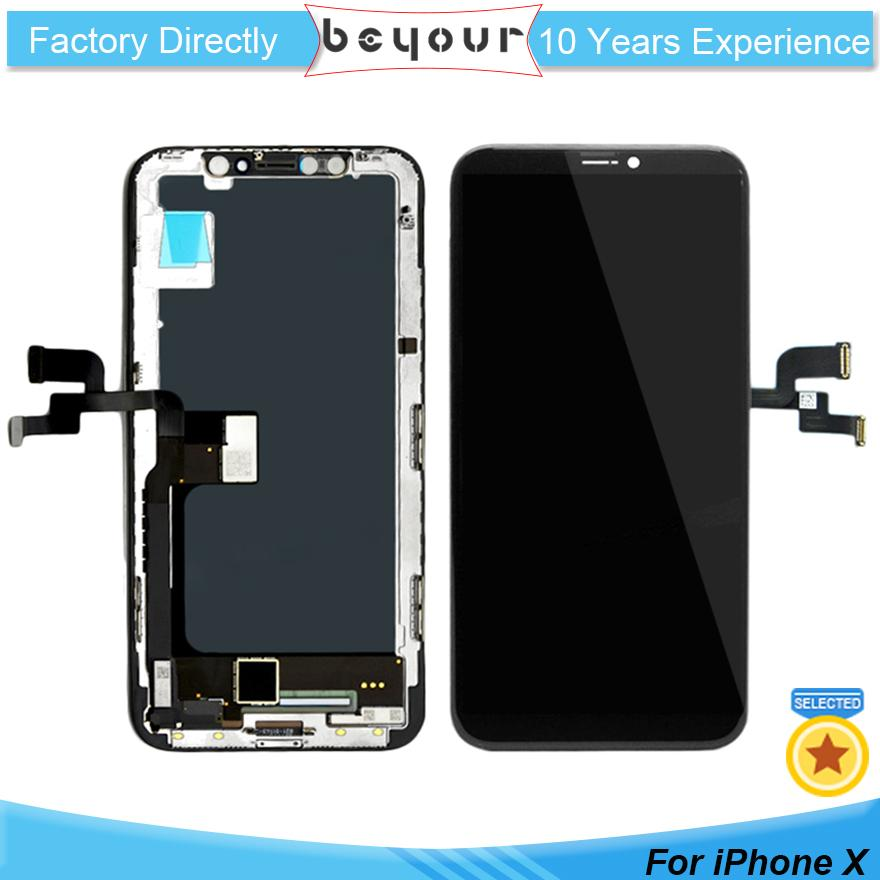 best service 8be2d 0f153 New Original LCD Display for iPhone X 10 OLED Touch Screen Display with  Frame Digitizer Replacement Repair Parts Black