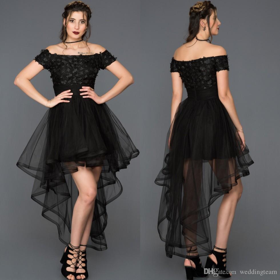 e8fe6291fe329 Satın Al Siyah Yüksek Düşük Mezuniyet Elbiseleri Kapalı Omuz Boncuklu Kısa  Balo Abiye Ucuz 3D Aplike Tül Pileli Mezuniyet Elbise, $107.64 |  DHgate.Com'da