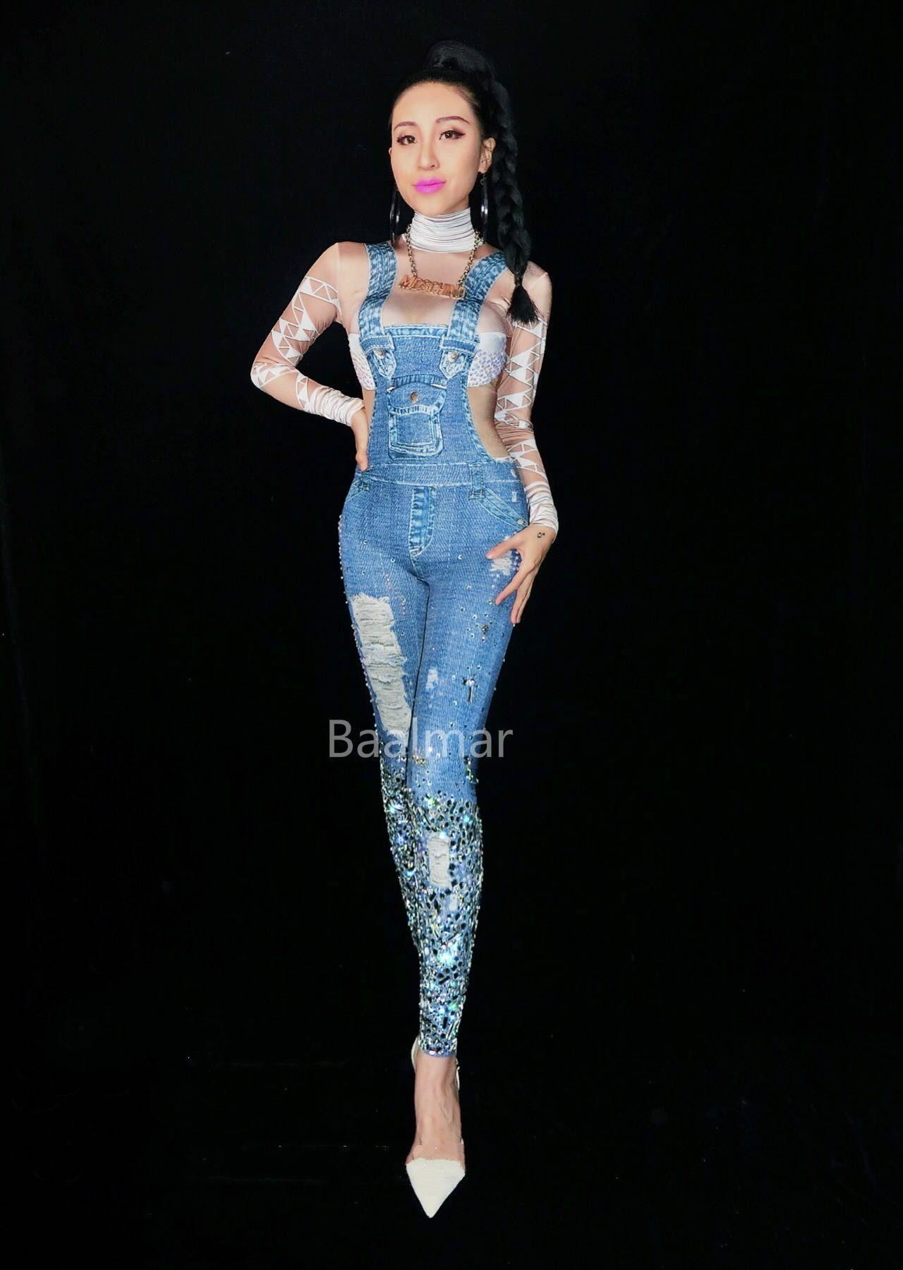 efc40b0f8a Nightclub jeans rhinestones jumpsuit sexy denim printed costume jpg  1280x1800 Bodysuit model jeans