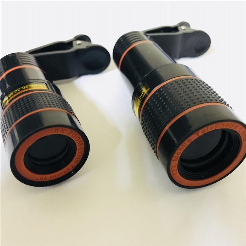 Lente do telescópio 8x 12x portátil Zoom Óptico Câmera Lente com clip para iPhone Samsung Celular com pacote de varejo / up