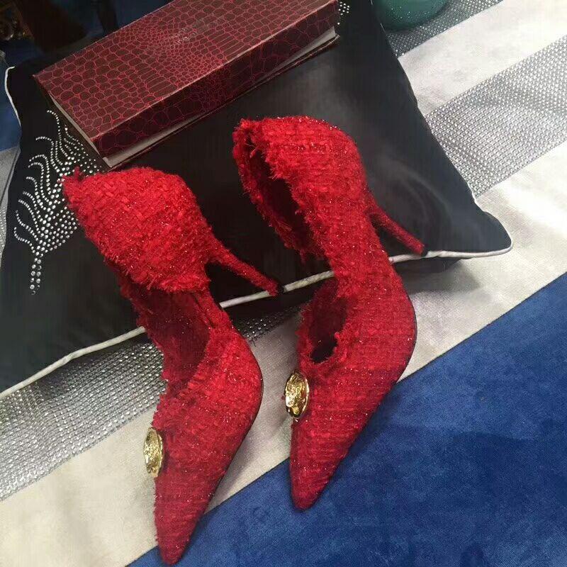 New Kitten Heels pointed shoes Woman linen Woolen Woven Red Low heel Pumps Knife Metal Button Decoration High Heel Shoes