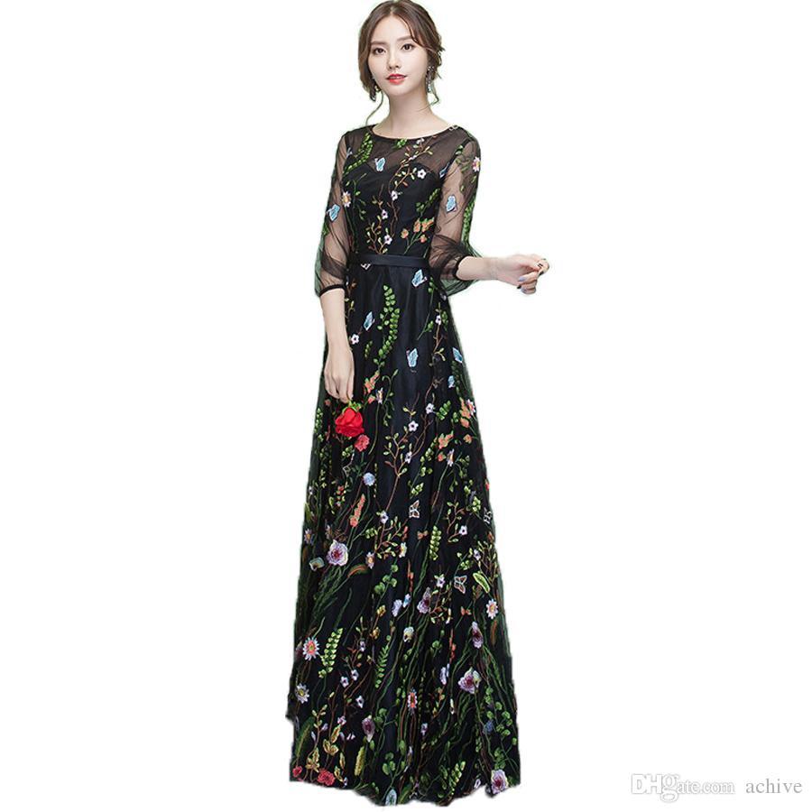 Şık Siyah Baskılı Dantel Gelinlik Modelleri 3/4 Kollu Illusion Uzun Hüsniye Moda 2020 Ucuz Akşam Partisi Biçimsel törenlerinde ile