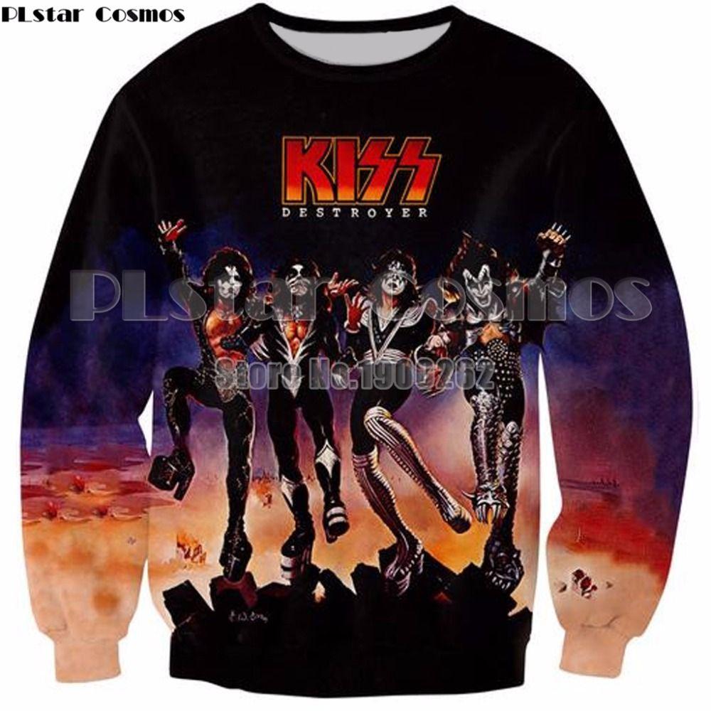 PLstar Cosmos 3D Print Hoodies Men KISS Destroyer/KISS Love Gun Sweatshirt  Fashion Hipster Streetwear Tops Pullovers Top 5XL