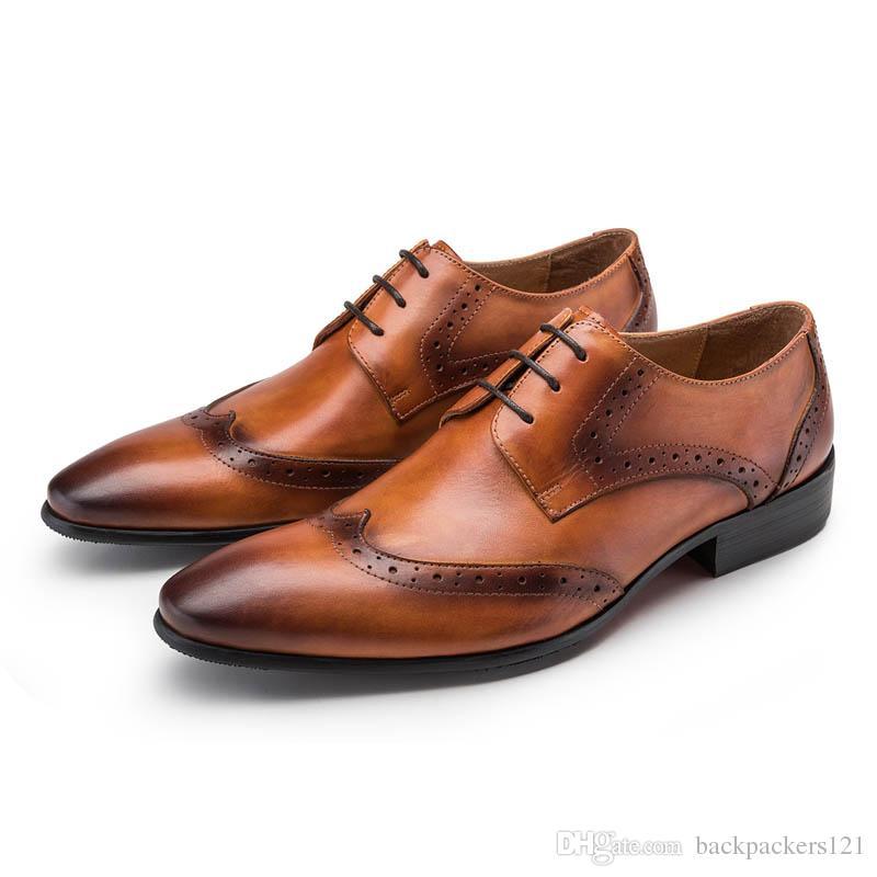 7223e347a Compre Ponta Da Asa Sapatos Brogue Homens Moda Rendas Até Dedo Apontado  Couro Genuíno Masculino Calçados Sapatos De Trabalho De Negócios Sapatos  Formais ...
