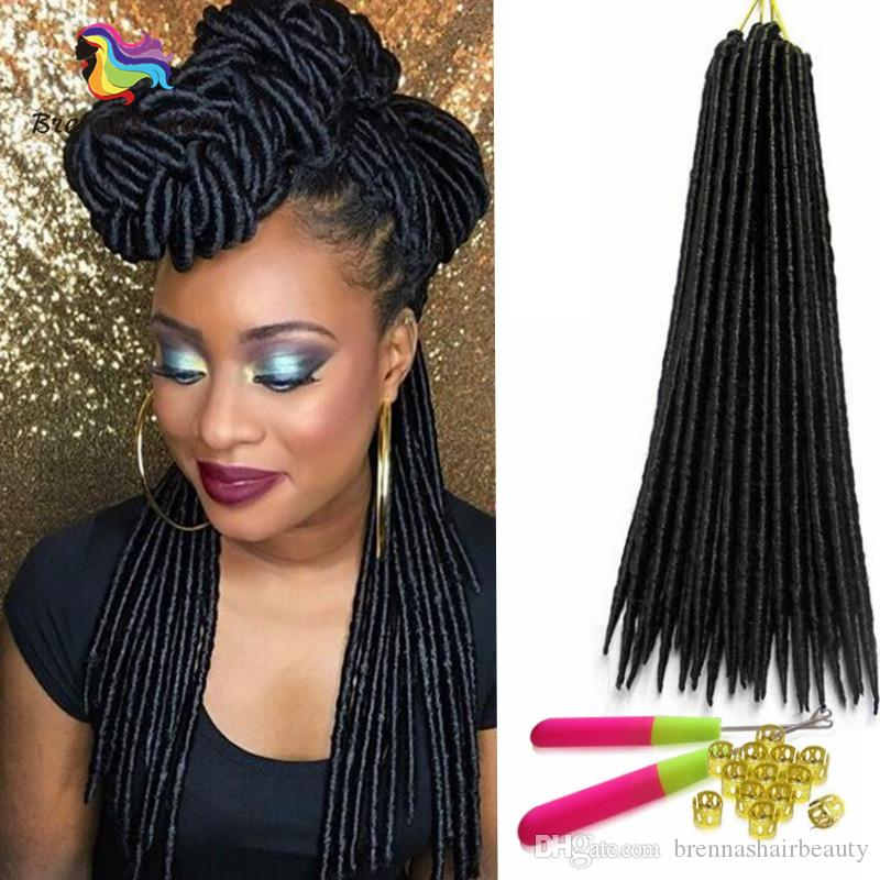 2018 Wholesale Price 18inch Black Faux Locs Braid Hair Dreadlock