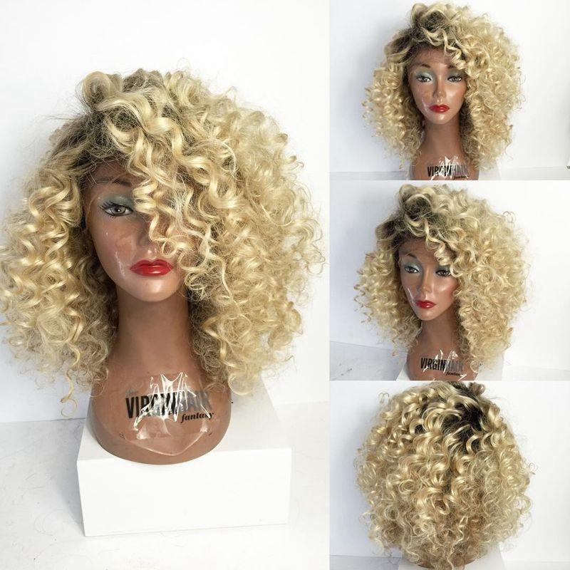 Pelucas de cabello humano de encaje completo rubio rizado omber # 1B # 613 Cabello humano frontal de encaje rizado no remy brasileño Ombre con cabello de bebé