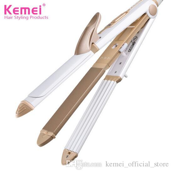 Kemei 1213 110-240V 3 In 1 Professionals Tourmaline Ceramic Hair Straightener Straightening Corrugated Iron Hair Curler Styling Tools