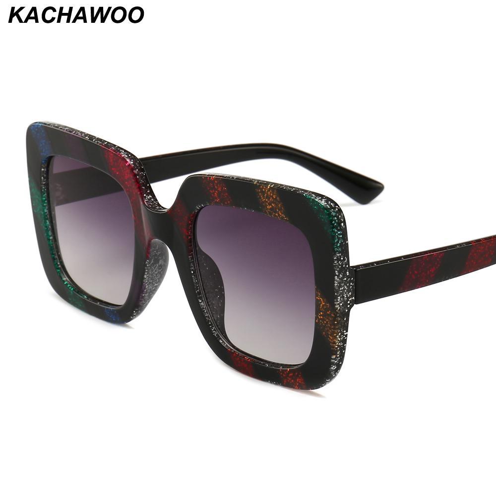 8a9883a384 Compre Kachawoo Al Por Mayor 6 Unids Mujeres Gafas De Sol De Gran Tamaño De  Lujo Raya Colorida Cuadrados Gafas De Sol De Moda Para Las Señoras Regalo  De La ...